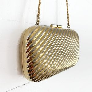 Vintage Gold Clutch Hard Case Shoulder Bag Italy